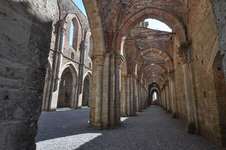 abbey ruins abbey: Ruins of Abbey of Saint Galgano Cistercian Monastery in Chiusdino, Italy
