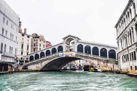 rialto: VENICE, ITALY - AUGUST 19, 2014: High_dynamic_range (HDR) Ponte di Rialto bridge in Venice Venezia Italy