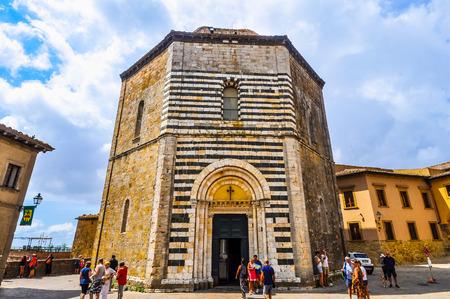 VOLTERRA, ITALY - CIRCA AUGUST 2016: High_dynamic_range (HDR) Baptistry at Duomo di Volterra cathedral (aka Cattedrale di Santa Maria Assunta)