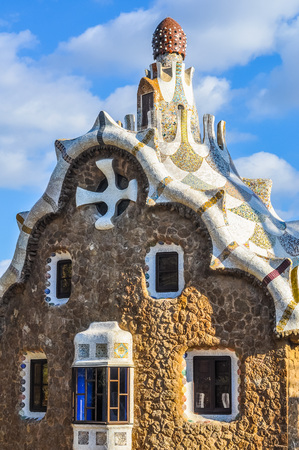 BARCELONA, SPAIN - FEBRUARY 15, 2015: High_dynamic_range (HDR) The Park Guell aka Parc Guell is a public park system of gardens and architectonic elements located on Carmel Hill designed by Catalan architect Antoni Gaudi