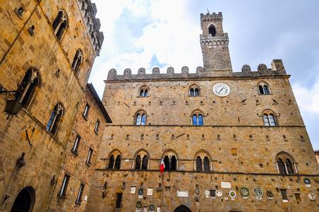 priori: High dynamic range (HDR) Piazza dei Priori square in Volterra, Italy