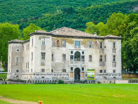 TRENTO, ITALY - CIRCA APRIL 2016: High_dynamic_range (HDR) Palazzo delle Albere Renaissance villa fortress