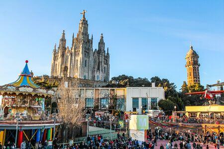 sagrat cor: BARCELONA, SPAIN - JANUARY 03, 2015: High_dynamic_range (HDR) Tourists visiting Sagrat Cor church on Mount Tibidabo Editorial