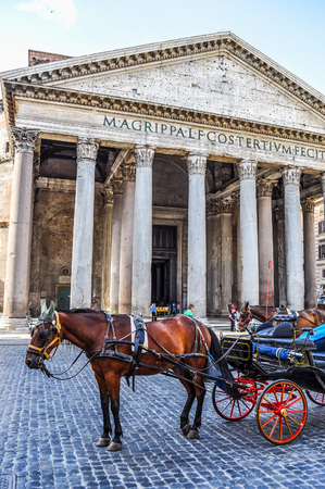 ROME, ITALY - JUNE 24, 2014: High_dynamic_range (HDR) Horse in front of Pantheon temple to all Gods Rome Italy Editorial