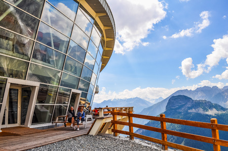 courmayeur: AOSTA VALLEY, ITALY - AUGUST 06, 2015: High_dynamic_range (HDR) The new SkyWay aerial tramway links the city of Courmayeur with Pointe Helbronner on the top of Mont Blanc massif Editorial
