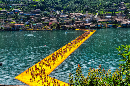 specific: LAKE ISEO, ITALY - CIRCA JUNE 2016: High_dynamic_range (HDR) The Floating Piers site specific artwork by Christo and Jeanne Claude