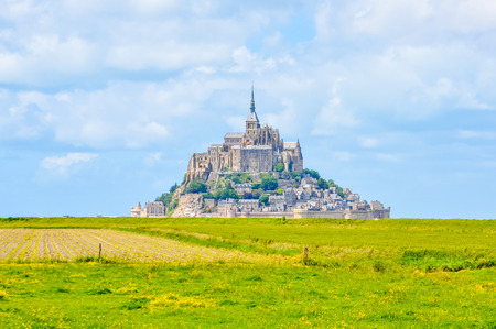 mont saint michel: High dynamic range (HDR) Mont Saint Michel island commune with Abbey and fortifications in Normandy France