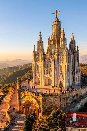 sagrat cor: BARCELONA, SPAIN - JANUARY 03, 2015: High_dynamic_range (HDR) Tourists visiting Sagrat Cor church on Mount Tibidabo Stock Photo