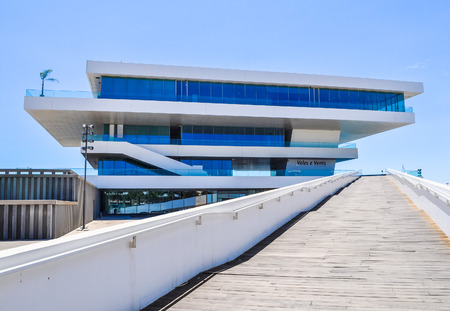 high winds: VALENCIA, SPAIN - CIRCA JULY 2016: High_dynamic_range (HDR) Veles e Vents (meaning Sails and Winds) building designed by British architect David Chipperfield for America Cup