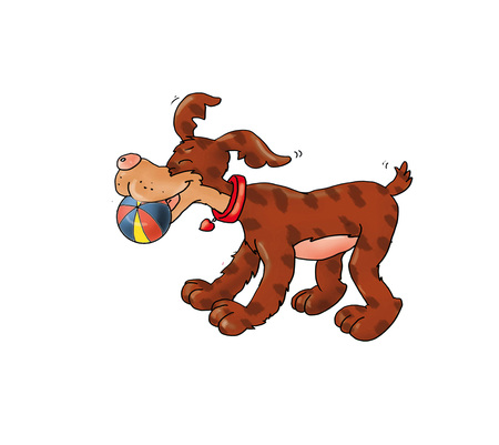 animalitos tiernos: Perro con la bola Foto de archivo