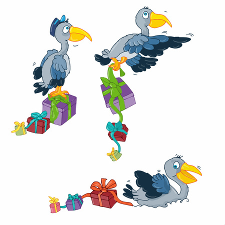 Pelicans with Christmas gifts