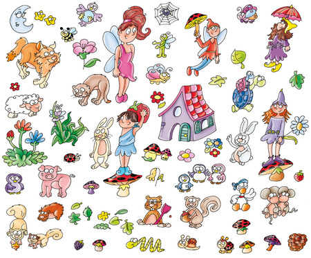 , Elves, magic, trees, nature, or make mascot princesses, cartoon animals, childrens illustration,