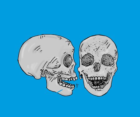 two gray colored skulls a profile and one in front of human bones, horror, fear, vintage illustration with the trait in comic