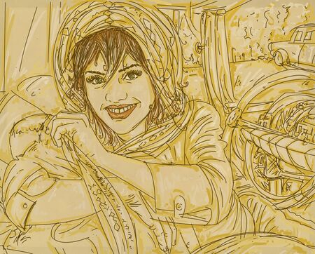 a woman in the car 50 years vintage. with yellow background worked on canvas, portrait of a young girl with green eyes, smiling. drawn freehand cartoon style.