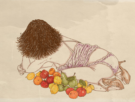 Portrait of a woman, back view, lying down and lined with fruit Stock Photo