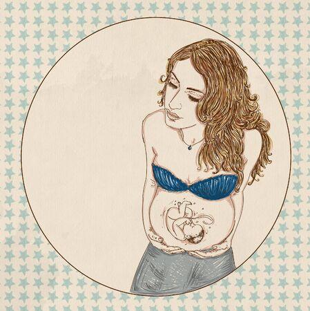 Femme enceinte avec pull rose et longs cheveux bruns, prénatals, avec bébé dans le ventre Banque d'images - 83540761