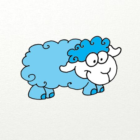 humorous button of a blue sheepskin