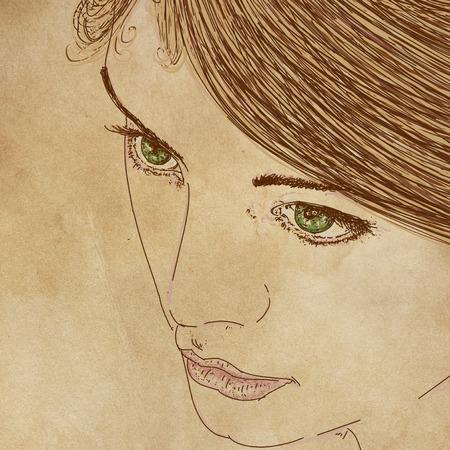 Le visage d'une femme, avec des détails de lèvres et d'yeux, conçu pour les cosmétiques Banque d'images - 89810274