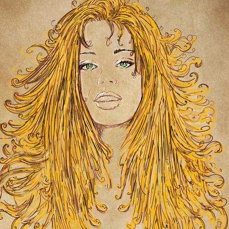 Le visage d'une femme, avec des détails de lèvres et d'yeux, conçu pour les cosmétiques Banque d'images - 89810381