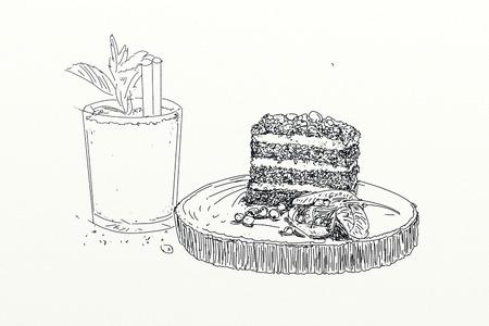 Slice of layered chocolate cake Stock Photo