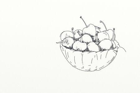 fruit, illustration of cherries