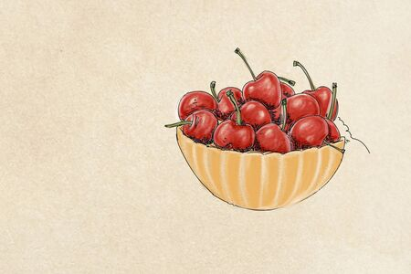 fruit, illustration of cherries