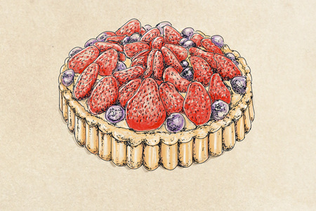 cake with strawberries Stock Photo