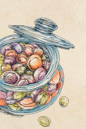 sugar candies in jar