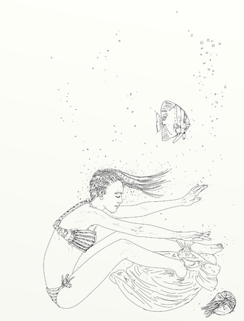 woman with swims and marine elements and bubbles