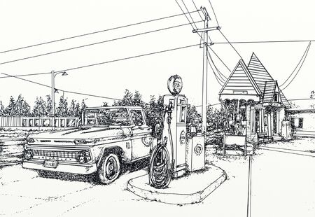 Realistic illustration with 50 years machine at a gas station