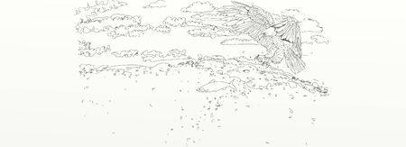 drawing of a flying eagle