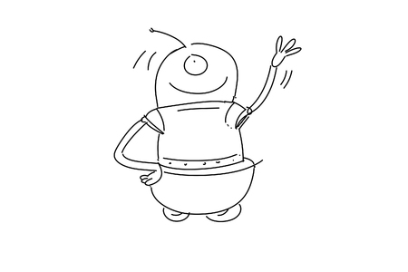 stylized series, robot that greets