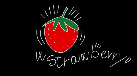 w strawberry, stylized comic book style humorist drawings