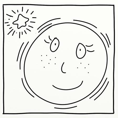 moon stylized comic book style humorist drawings
