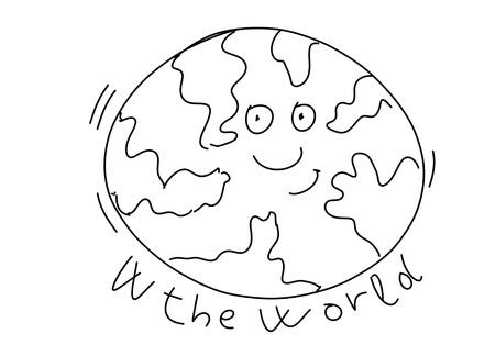 w the world stylized comic book style humorist drawings Stock Photo