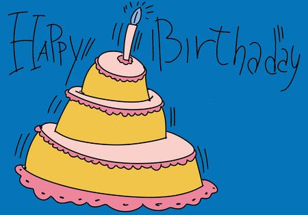 happy birthday stylized comic book style humorist drawings Stock Photo