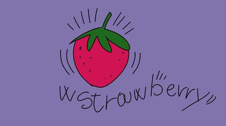 w strawberry stylized comic book style humorist drawings