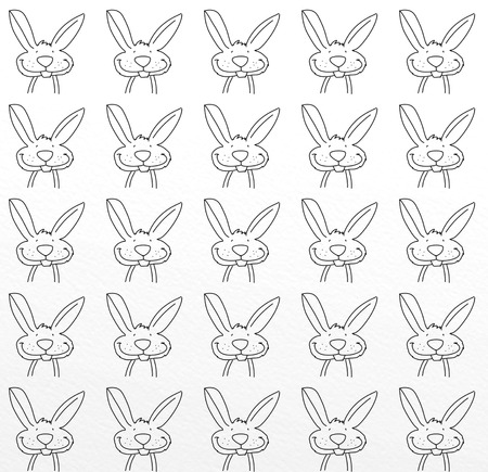 rabbit mascot with repeated motif for cards and fabrics