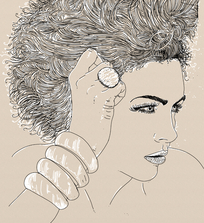 An illustration of a woman with a shy look and bobbed hair. Banco de Imagens