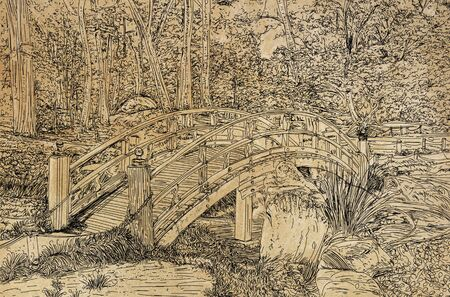 A line art drawing of a bridge over a small creek in a park.