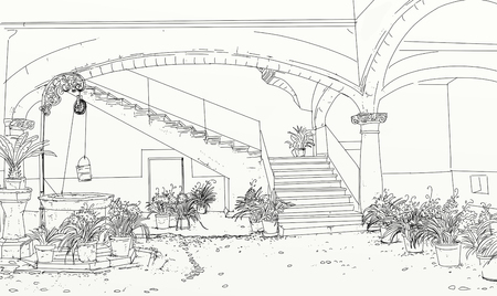 detail of entrance of courtyard with arches and plants Imagens