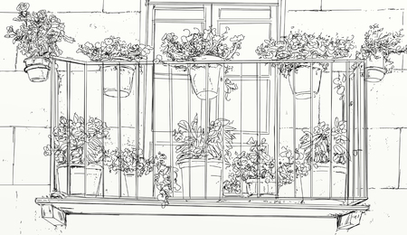 balcony with vases and flowers