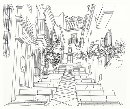landscape with staircase of an alley of a country Imagens
