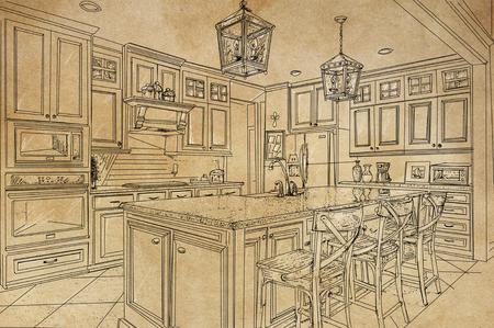 A line art illustration vintage kitchen interior furnishings designed in perspective