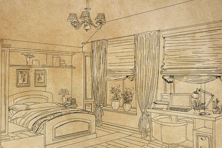 An illustration of the interior of a modern bathroom.