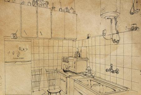 A line art illustration vintage kitchen