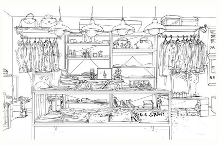 Monochrome drawing of different items in a clothes and accessories shop.
