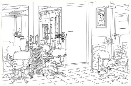 A line art illustration of a barber shop or hair salon. 版權商用圖片