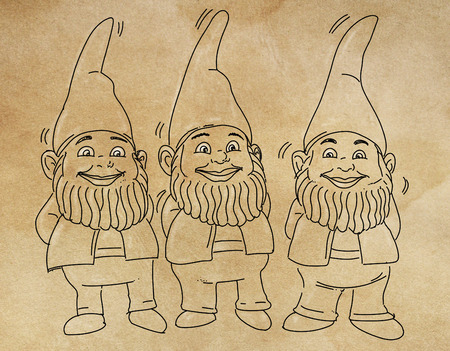 three gnomes of a garden 写真素材