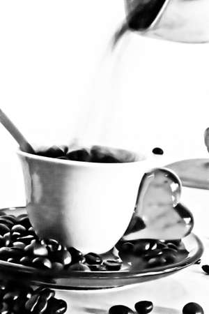 Coffee cup and grains photo